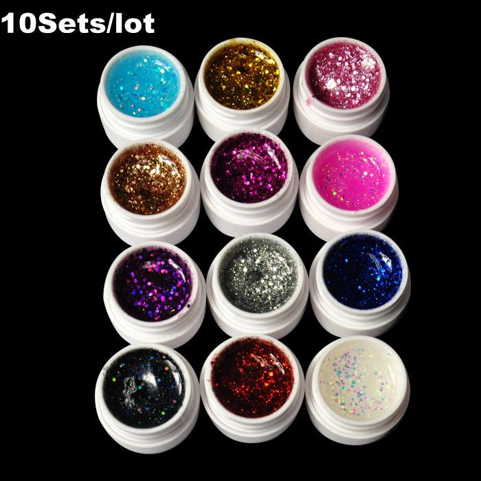 Thanksgiving Big sale 10set/lot 12 Color Shiny Sequins Nail Art UV Gel Nail Decoration Glitter(China (Mainland))