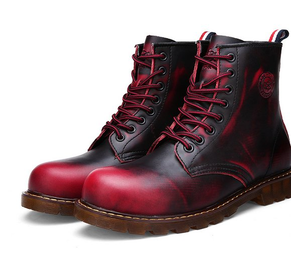 2015 Size 38-43 Winter Men Retro Gradient Color Army Boots Young Boys Fashion Motorcycle Genuine Leather Short W6500