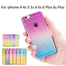 Phone Cases For Apple iPhone 4 4S 5 5S 6 6S 6 Plus 6S Plus Case Transparent Gradient Color Design TPU Silicon Phone Covers Shell