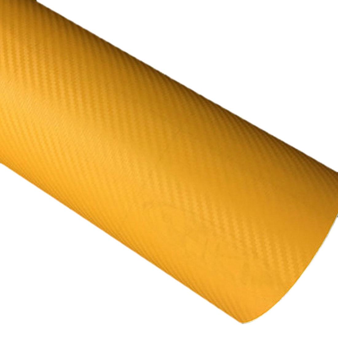 DIY 30x127 3D Carbon Fiber Decal Vinyl Film Wrap Roll Adhesive Car Sticker Sheet yellow