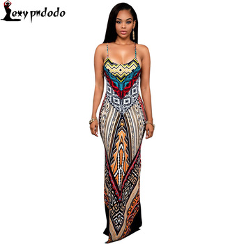 Wholesale Women Dashiki Maxi Dress 2016 Bodycon Dresses Plus Size 4XL Sexy Sundress Backless Bandage Boho Long Dress Vestidos