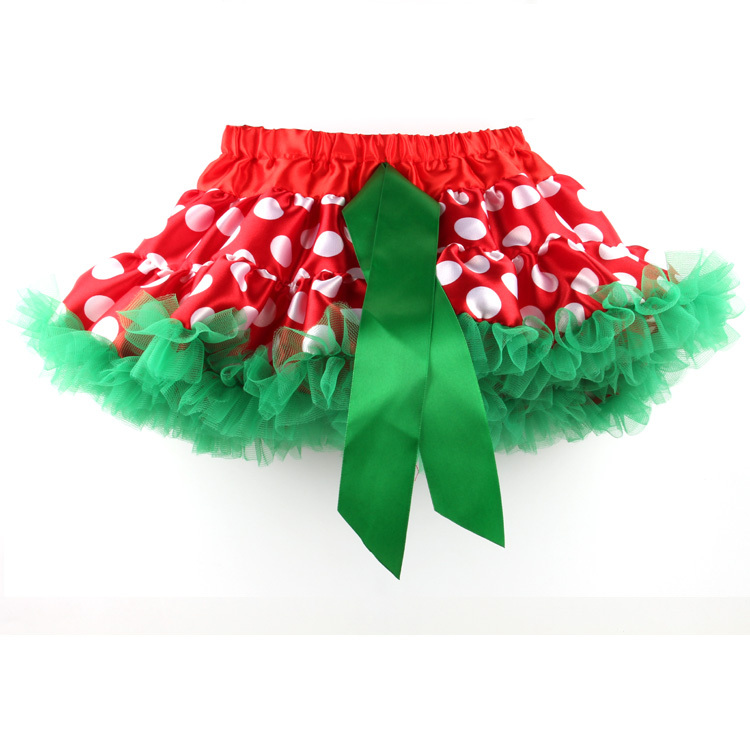 children girls polka dot christmas tutu skirt red white green colors classic hot sale festival pettiskirt for little kids(China (Mainland))