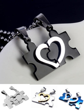 2016 New Mens&Women Couple love hearts necklace Stainless Steel Puzzle necklaces & pendants  For Lovers 4 Colors Jewelry Gift(China (Mainland))