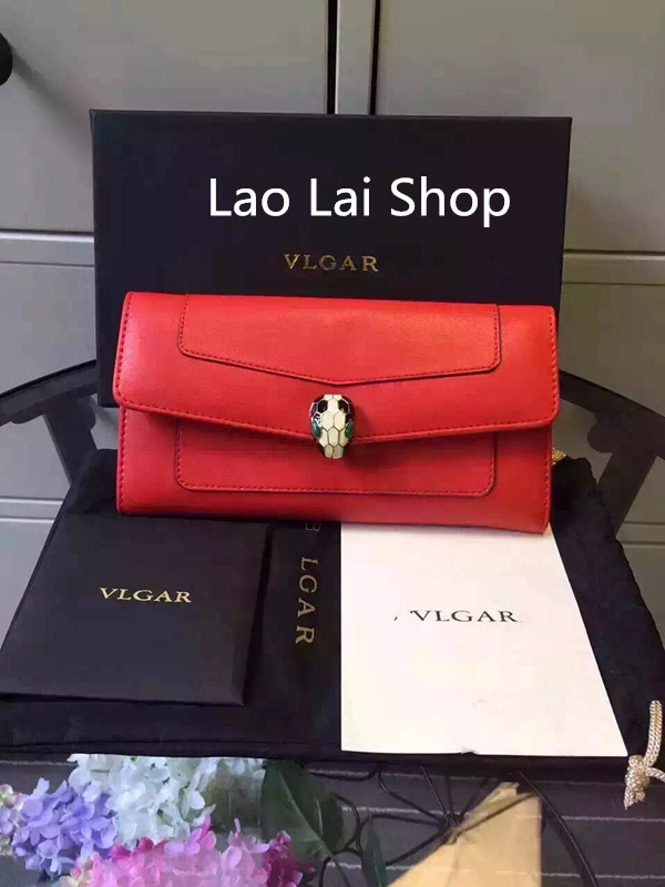 2015 popular enamel snake head buckle leather high-end two-fold wallet Ladies Clutch(China (Mainland))
