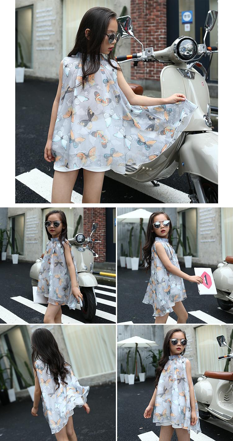 kids girls sleeveless summer dress letter 2017 new baby girls clothing fashion butterfly chiffon dress 4/5/6/7/8/9/10/11/12