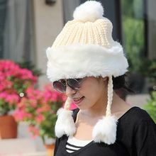 Princess plush new winter warm hat knitted hat wool cap thick cold hat lady princess hat(China (Mainland))