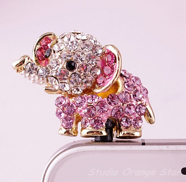 6PCS/Lot Bling Crystal Cute Animal Elephant Earphone Charm Cap Anti Dust Plug for iPhone 5, iPhone 4, Samsung S3 & Galaxy Note 2