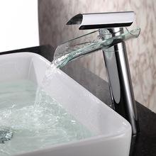 Spedizione gratuita in ottone rotondo di vetro lavandino rubinetto del bagno singolo foro acqua di rubinetto cascata rubinetto per il bagno torneira para banheiro(China (Mainland))
