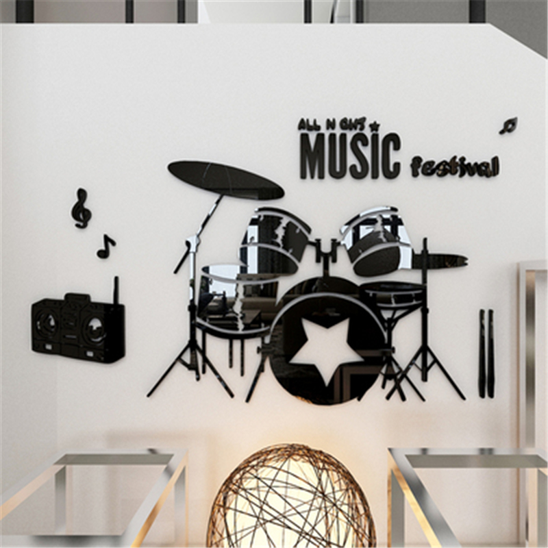 Shelf Drum 3d Stereo Acrylic Wall Stickers Children's Room Music Dance Classes Backdrops Wall Decoration Sticker Decal DIY Gift(China (Mainland))
