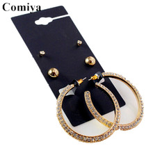 Comiya brand gold plated stud earring rhinestone fashion jewelry brinco boucle d'oreille femme cc statement earrings brincos(China (Mainland))