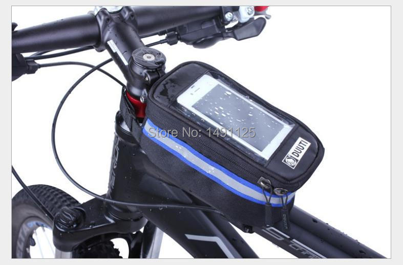 Hot seller 4.8inch Outdoor Cycling Bicycle bag ,Front Tube Trame Bag, Waterproof Touchscreen for iPhone5/6 and HTC Samsung(China (Mainland))