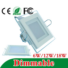 Dimmable LED Panel Downlight Square Glass Panel Lights High Brightness Ceiling Recessed Lamps For Home SMD5630 AC110V AC220V(China