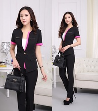 Plus Size Short Sleeve Summer Formal Pantsuits For Women Business Suits with Pants and Jacket Female Trousers Set Office Ladies