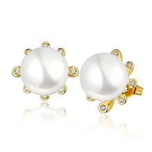 pearl jewelry VGE1140# antique earrings creative gift gold earrings earing hip hop gothic lolita gold plated ear rings studs