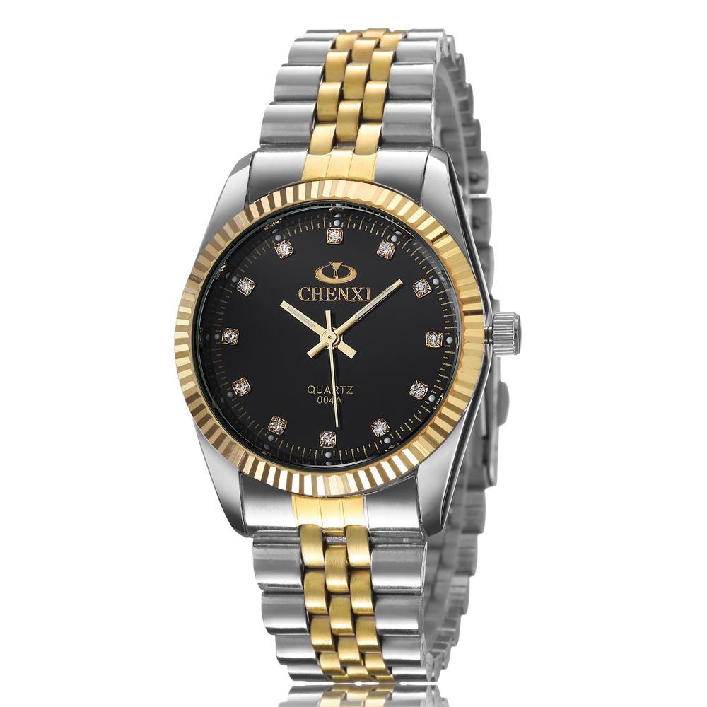 2015 Golden New Clock gold Fashion Men watch luxury full gold Stainless Steel Quartz watches Wrist Watch CHENXI Gold watch men