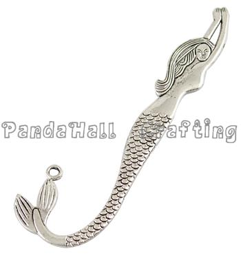 Tibetan Silver Bookmarks, Lead Free and Cadmium Free, Mermaid, Antique Silver, about 122mm long, 33mm wide, 2mm thick, hole: 3mm(China (Mainland))