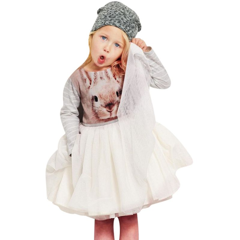 Гаджет  Sweet Baby Girls Toddler Kids Long Sleeve Tutu Dress Bunny Rabbit Dress Hot 1-6T None Детские товары