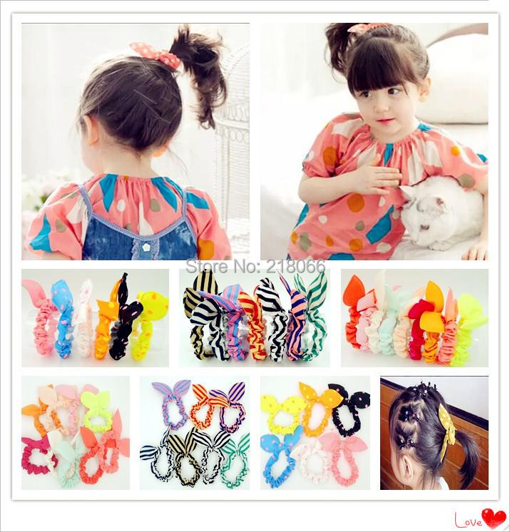 10 pcs Free Shipping Mini Small Bunny Rabbit Ears Headband Hair Rope Rubber Bands Baby Girls' Kids Cute hair Accessories(China (Mainland))