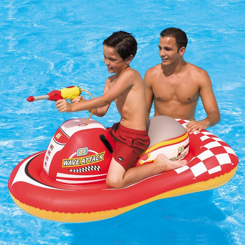 INTEX Genuine Water Gun Inflatable Motorboat PVC Boat Hovercraft Floating Mount Water Toy Inflatable Swimming Toy(China (Mainland))