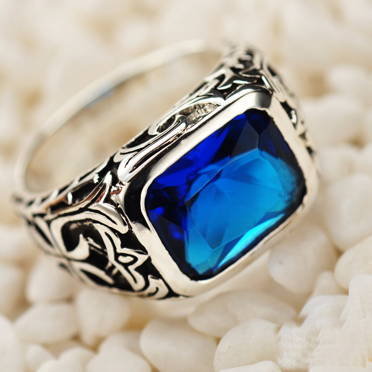 925 Sterling Silver Jewelry Silver Natural Stone Blue ... Silver Rings For Men With Blue Stone