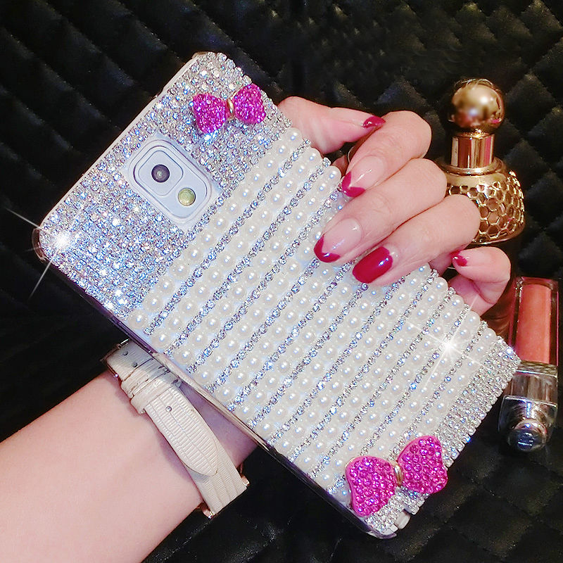 Luxury Bling Crystal Diamond Hot Pink Bow Case Cover For Samsung Galaxy Note Edge N9150 Note 2 Note3 Note Neo N7505 S6 Active(China (Mainland))