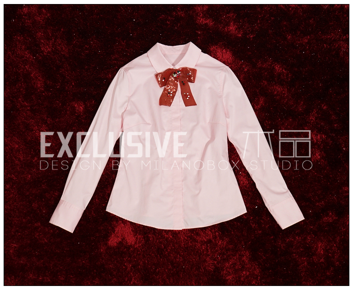 high quality 2016 new runway shirt women lapel long sleeve elegant sequin bow pink shirt M0626(China (Mainland))