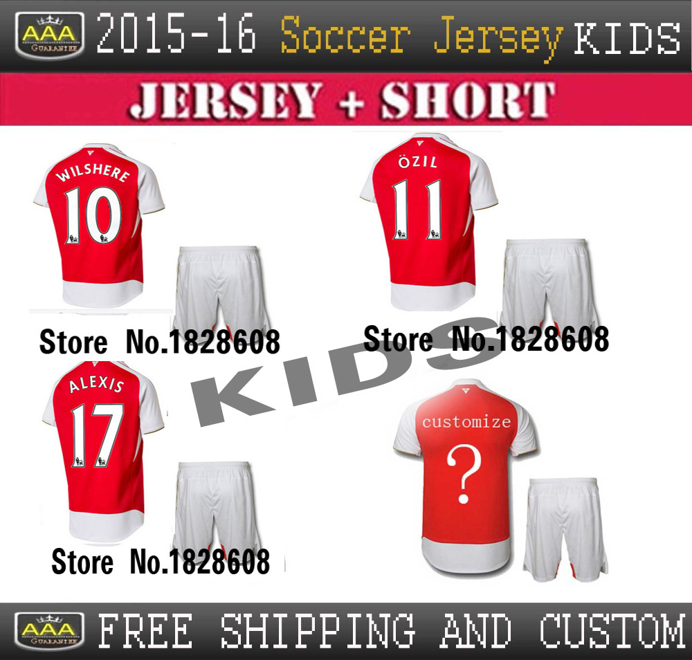 2015 Best Thai Quality Soccer Jersey 15/16 Premier League kid Jerseys, Ozil Alexis Wilshere Giroud custom kids football shirts(China (Mainland))