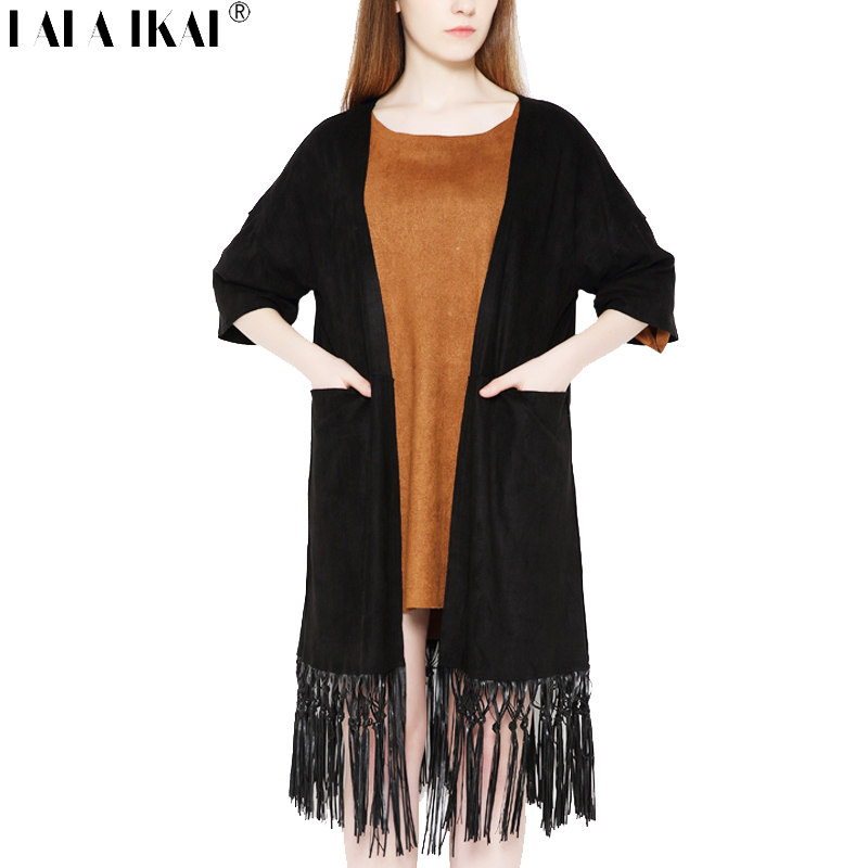 Half Sleeve Suede Cardigans Women Fringed Long Pattern Shawl Woman Vintage Solid Bohemian Cardigan Female SWK0009-5Одежда и ак�е��уары<br><br><br>Aliexpress