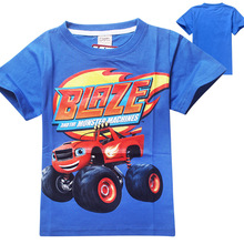 Blaze Monster Machines Clothing Children T Shirts Fit 2015 Summer Boys Kids Short Sleeve Tees Cotton Baby Clothing Boys T-Shirts