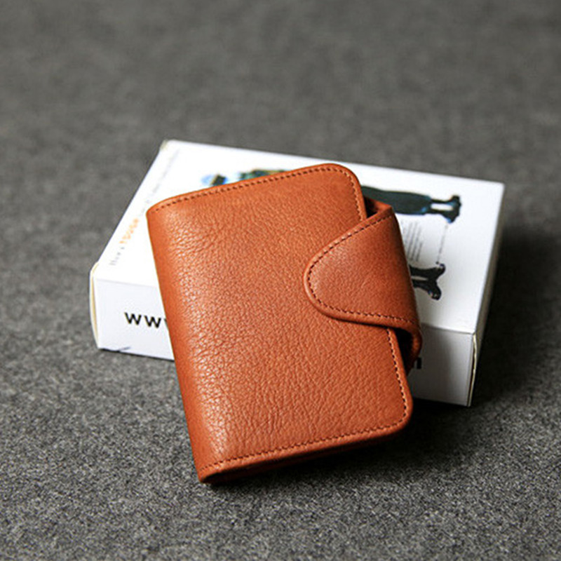 100% top layer cowhide leather large capacity Credit Card ID Holders brown bus card short Wallet Coin Purse Man