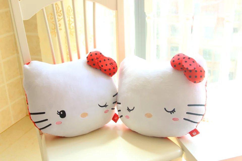 Free Shipping Hello Kitty Plush Pillow Hello Kitty Soft Stuffed Pillow Gift For Girls 1pair/lot(China (Mainland))