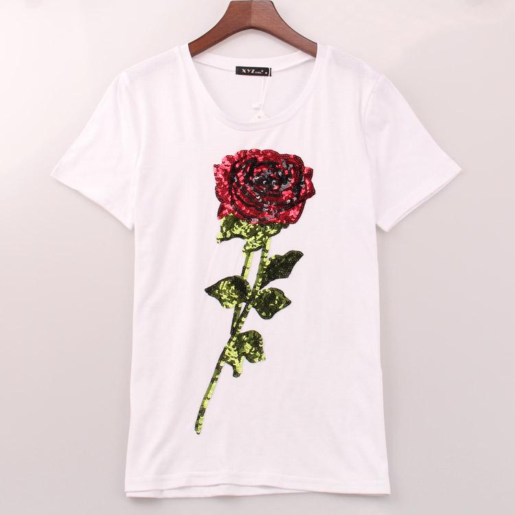 2016 hot sale t shirt women ROSE sequined printing t-shirt summer casual fashion brand new tees tops women woman Sakura clothing(China (Mainland))