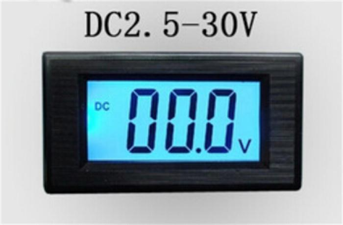 5pcs/lot High Precision DC 2 Wire 2.5-30V LCD Digital Blue Backlight Voltage Meter Free Shipping 12002320(China (Mainland))