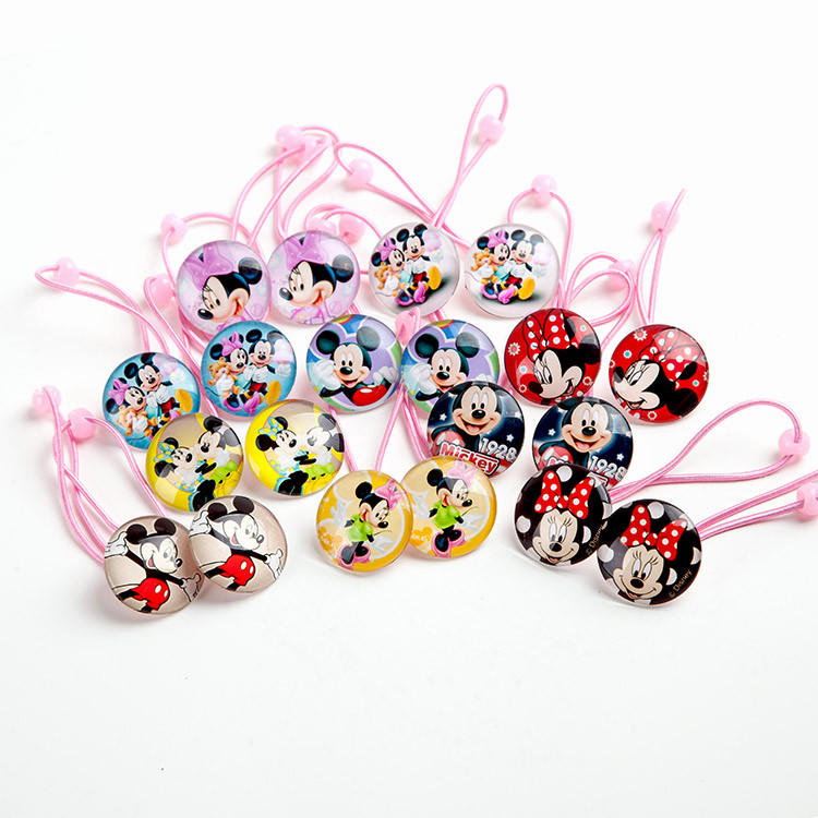 2 PCS New High Quality Children Hair Ropes Girls Hair Accessories Mickey Minnie Headwear Baby Elastic Hair Bands Kids Headdress(China (Mainland))