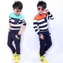 New arrival 2015 children set medium-large stripe twinset children's clothing Kids Casual Clothes Suit Children Cotton Sport Set(China (Mainland))