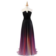 Trasporto veloce 2016 nuovo arrivo lungo sfumatura di colore chiffon prom abiti lunghi da sera party dress(China (Mainland))