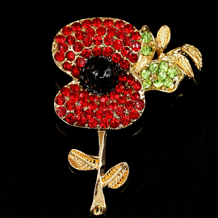 Hot Sale Poppy Flower Diamante Crystal Broach Banquet Badge Brooch Pin Breastpin Gift(China (Mainland))