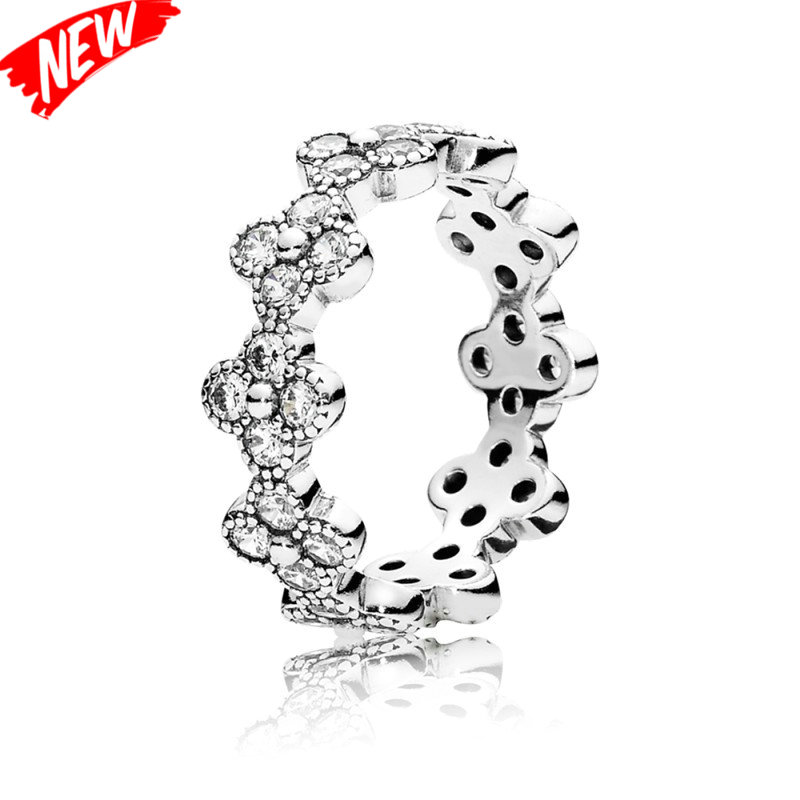 Compatible with European Style Oriental Blossom Silver Rings for Women with Clear CZ 925 Sterling Silver Jewelry(China (Mainland))
