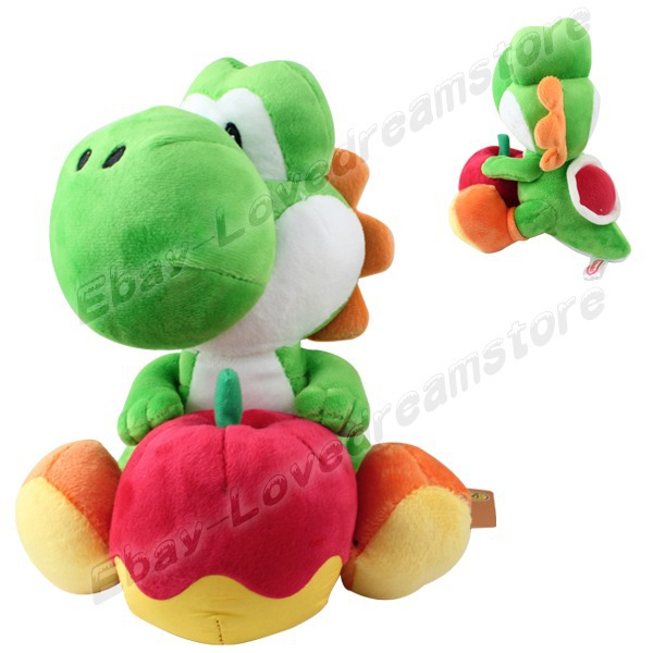 "FREE SHIPPING Animation Cartoon Game Super Mario YOSHI With Apple 19cm/7.6"" Soft Plush Doll Toy(China (Mainland))"