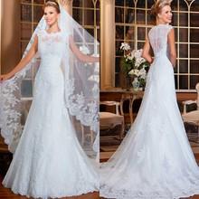 OEM Factory Lace Appliqued Sequins Beading Wedding Dress With Bolero(China (Mainland))