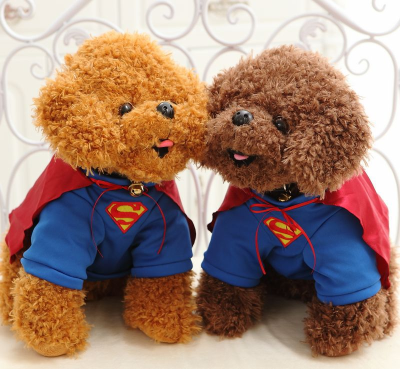 Free Shipping Cute 40cm Superman Teddy Plush Toys Puppy Dolls Simulation Dog Stuffed Animal Toys For Children Christmas Gifts(China (Mainland))
