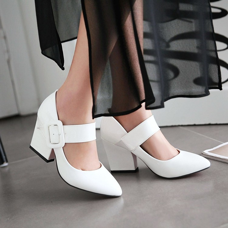 2016 Women High Heels Shoes Fashion Pointed Toe Thick Heel buckle patent Leather Women Pumps Elegant Cute Ladies Pumps for Women<br><br>Aliexpress