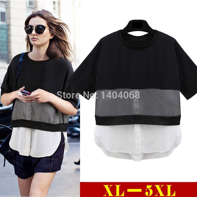 XL 5XL Plus Size Fashion Women Tops Summer Style 2015 Chiffon Patchwork Blouses Female Short Sleeve Casual Shirts Blusa Feminine(China (Mainland))