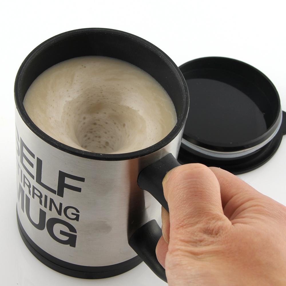Stainless Plain lazy Self Stirring Mug Auto Mixing Tea Cup Coffee Mug Tea Coffee(China (Mainland))