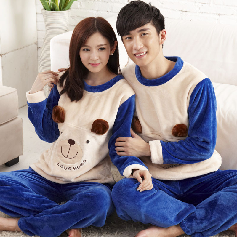 and winter pajamas cartoon couple korean men and women Home Furnishing thick long sleeved Flannel Suit wholesale agent(China (Mainland))