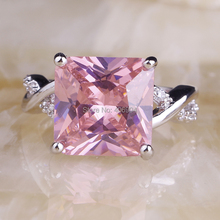 Wholesale Fashion Women Princess Cut Pink Sapphire White Topaz 925 Silver Ring Size 6 7 8