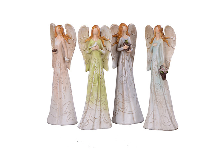 4pcs/lot European Retro Lines Carved Angel with Wings Crafts Ornaments Miniature Fairy Garden Decorations Wedding&Birthday Gift(China (Mainland))