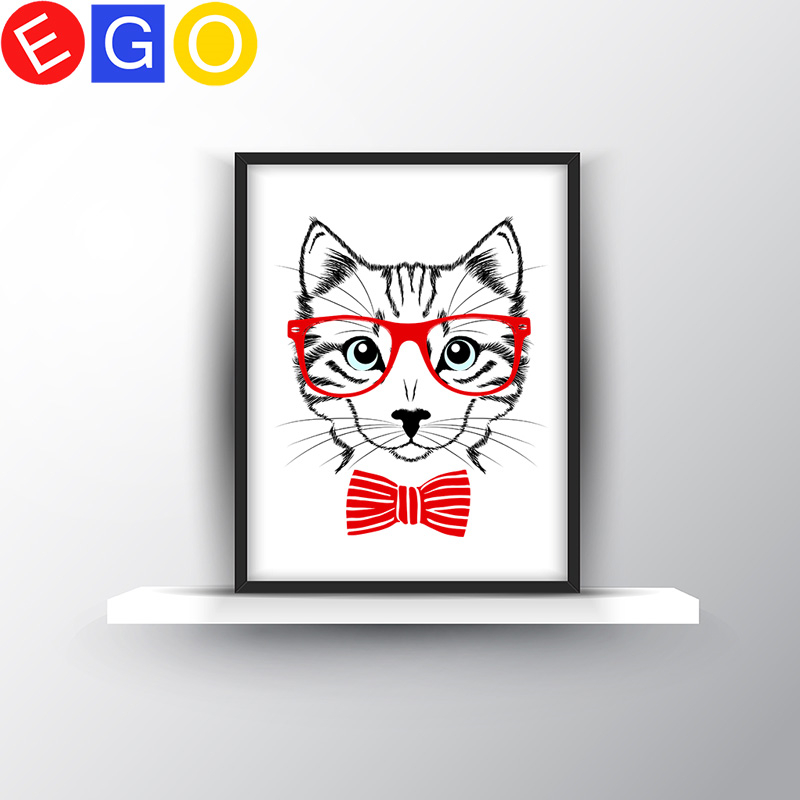 <font><b>Hipster</b></font> cat with red glasses Canvas Art Print Poster Wall Pictures oil painting for <font><b>Home</b></font> bedroom Decoration Wall <font><b>Decor</b></font> frameless