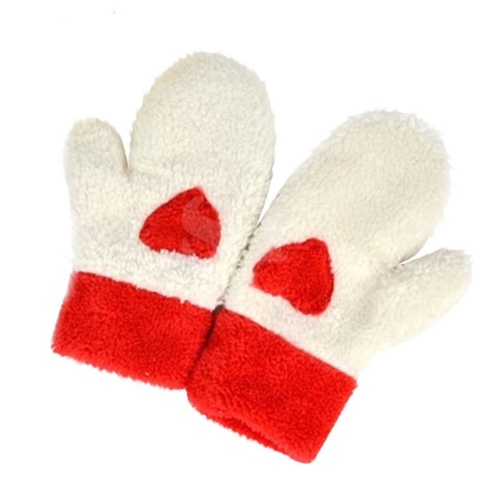 Fashion Women Girls Warm Plush Gloves Full Finger Mittens Cute Heart Love Gloves(China (Mainland))