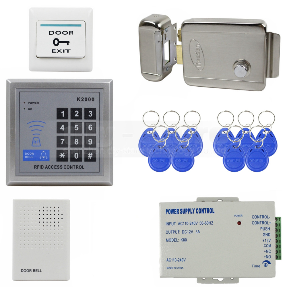 DIY Access Controller 125KHz Rfid Keypad Control System Kit + Electric Door Lock Power Supply Bell K2000 - DIYSECUR store